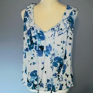 Blue and White Floral Blouse With Ruffles